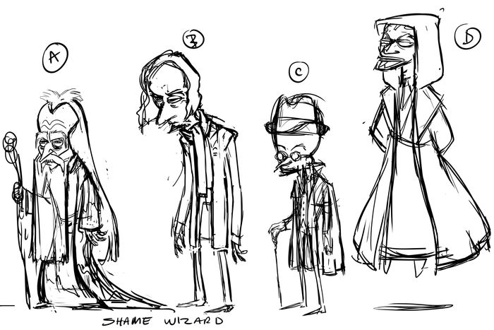 Early sketch ideas for the Shame Wizard.