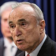 New York City Police Commissioner Bill Bratton speaks at a press conference introducing new legislation that would require smartphone manufacturers to create a