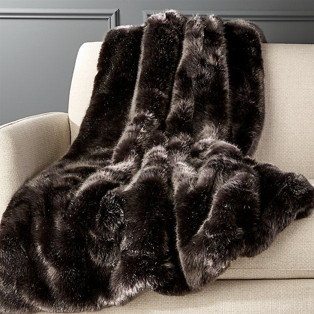 CB2 Premium Grey Faux Fur Throw