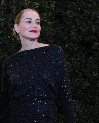 Oscar-nominated actress Sharon Stone poses on arrival at the 3rd Annual Governors Awards in Hollywood on November 12, 2011 in southern California. AFP PHOTO / Frederic J. BROWN (Photo credit should read FREDERIC J. BROWN/AFP/Getty Images)