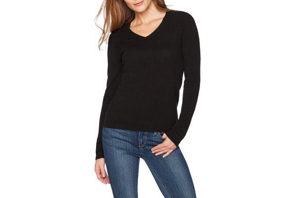 Lark & Ro Women's 100% Cashmere 12-Gauge V-neck Pullover Sweater