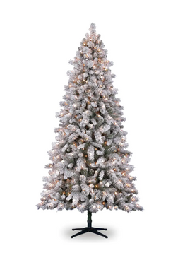 Michaels 7.5-Foot Pre-Lit Vermont Pine Flocked Artificial Christmas Tree, Clear Lights, by Ashland