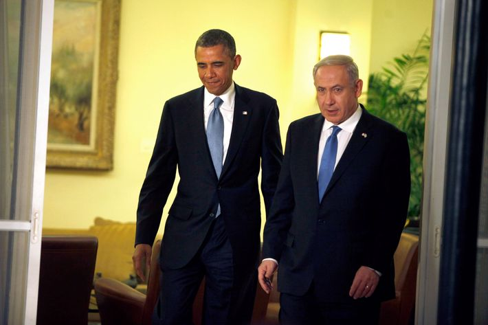 U.S. President Barack Obama (L) arrives to a press conference with Israeli Prime Minister Benjamin Netanyahu on March 20, 2013 in Jerusalem, Israel. This is Obama's first visit as President to the region, and his itinerary will include meetings with the Palestinian and Israeli leaders as well as a visit to the Church of the Nativity in Bethlehem.  (Photo by Lior Mizrahi/Getty Images)