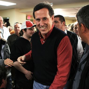 """Republican presidential candidate, former U.S. Sen. Rick Santorum arrives at a town hall meeting on """"Faith, Family and Freedom"""" at Rockingham County Nursing Home January 4, 2012 in Brentwood, New Hampshire."""