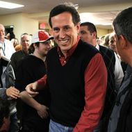 "Republican presidential candidate, former U.S. Sen. Rick Santorum arrives at a town hall meeting on ""Faith, Family and Freedom"" at Rockingham County Nursing Home January 4, 2012 in Brentwood, New Hampshire."
