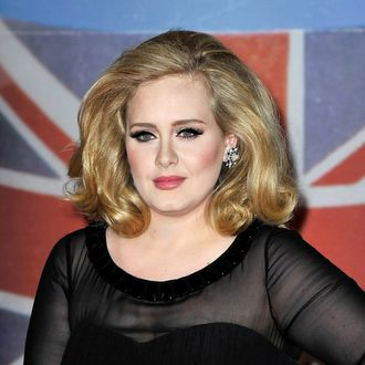 Adele attends The BRIT Awards 2012 at the O2 Arena on February 21, 2012 in London, England.