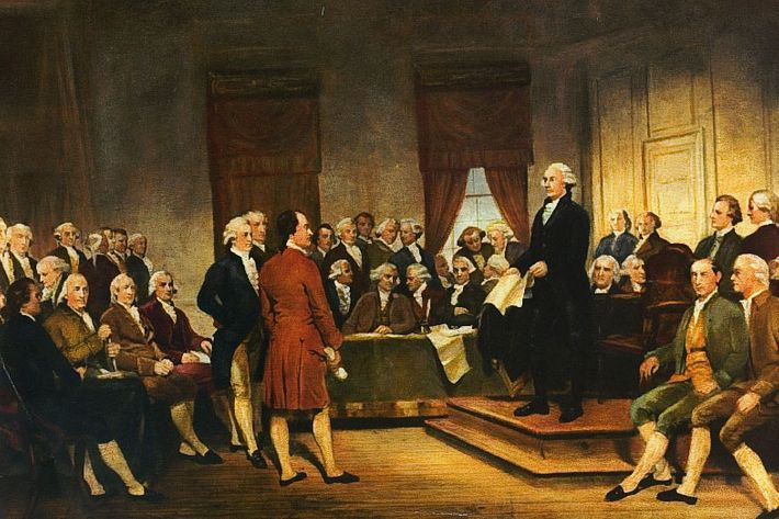 Painting, 1856, by Junius Brutus Stearns, Washington at Constitutional Convention of 1787, signing of U.S. Constitution.