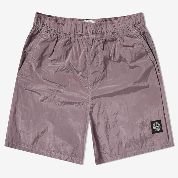 Stone Island Garment Dyed Nylon Metal Patch Logo Swim Short