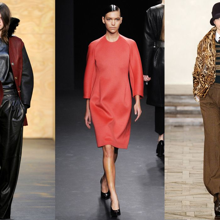 From left: new fall looks from Proenza Schouler, Calvin Klein, and Ralph Lauren.
