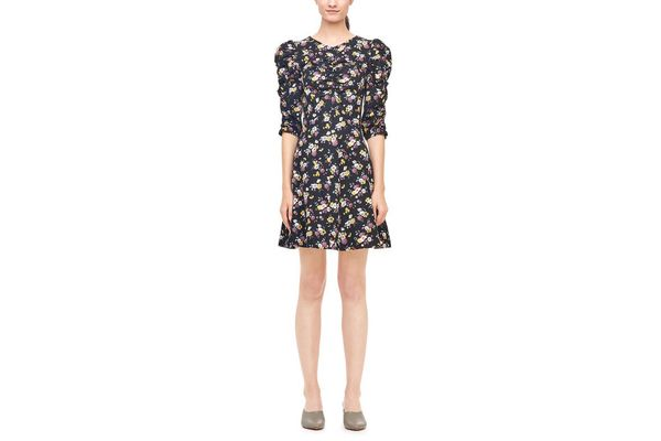 Rebecca Taylor La Vie Winter Posey Print Silk Twill Dress