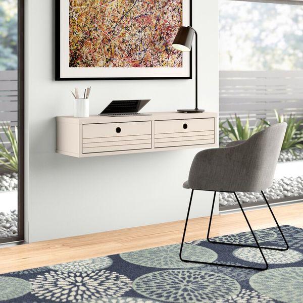 Barry Solid Wood Off White Floating Desk