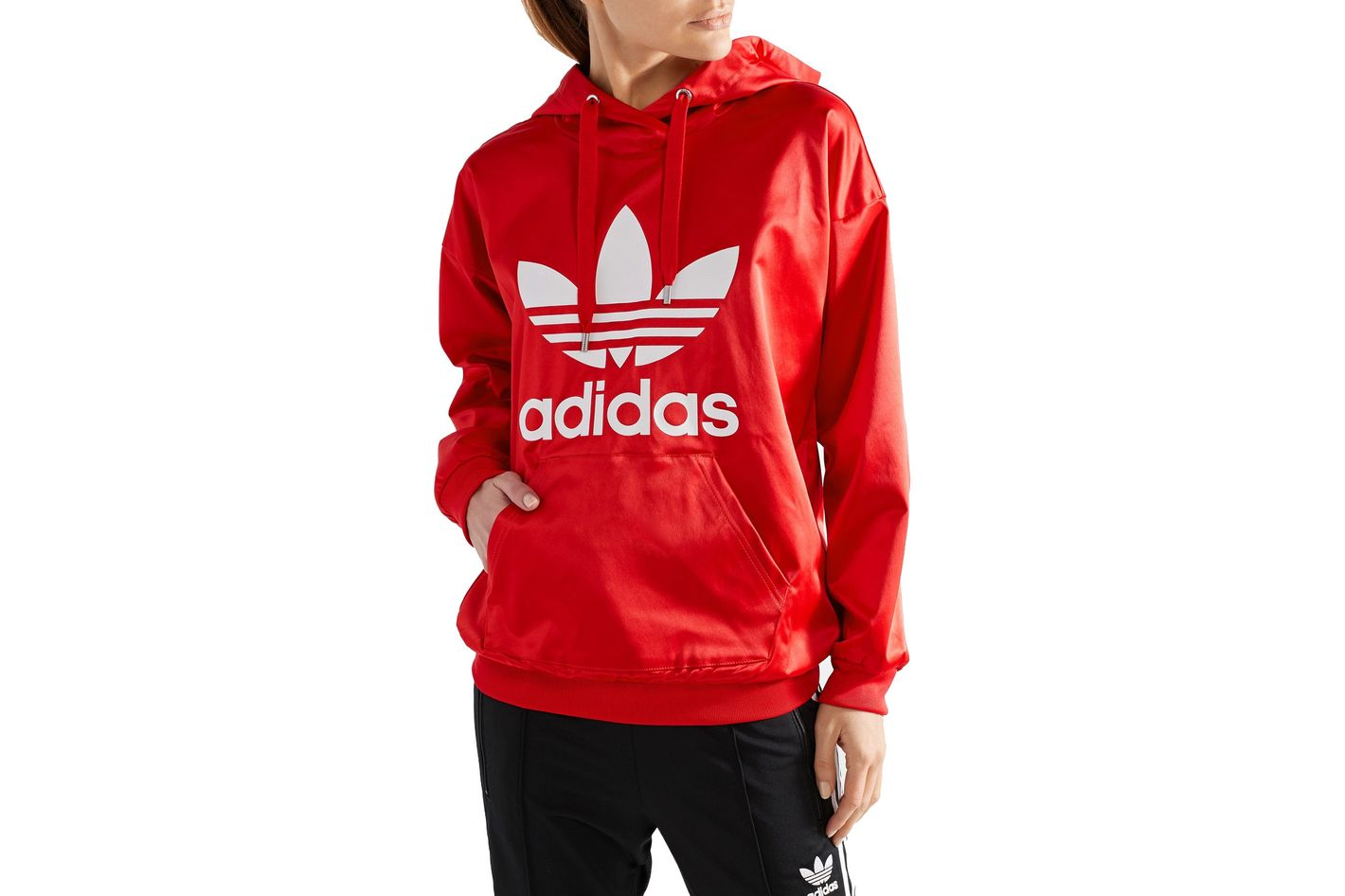 ADIDAS ORIGINALS Trefoil printed satin-jersey hooded top