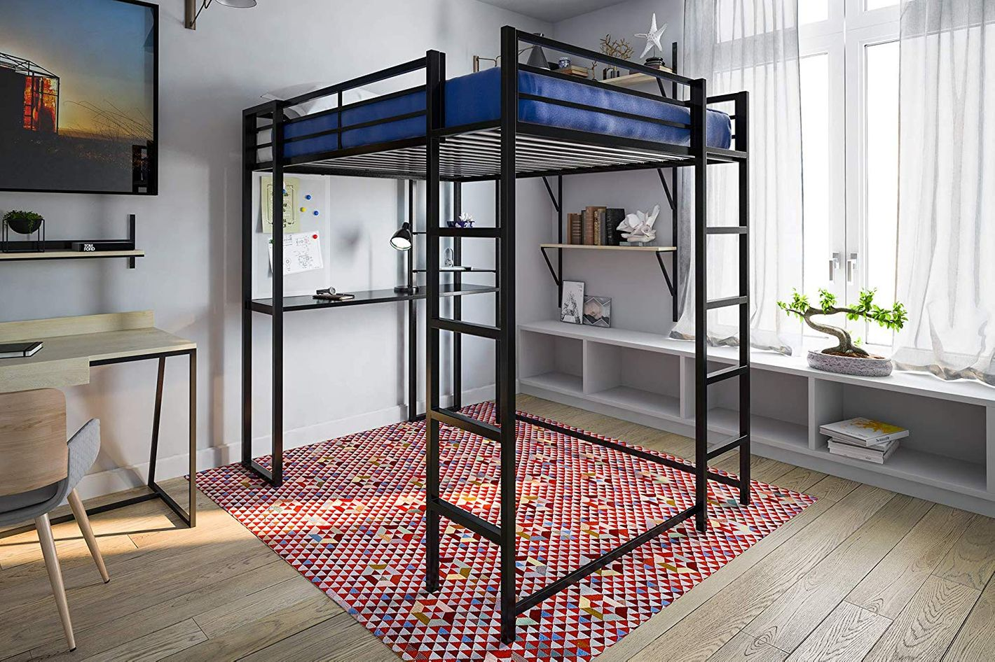 DHP Abode Full-Size Loft Bed Metal Frame With Desk and Ladder