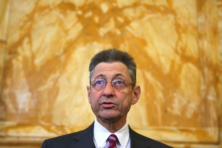 ALBANY, NY - MARCH 12: Speaker of the New York State Assembly Sheldon Silver speaks to members of the media in the State Capitol March 12, 2008 in Albany, New York. New York state Governor Eliot Spitzer announced his resignation today after various media reports have linked him to a prostitution ring. New York Lieutenant Governor David Paterson will take over for Spitzer when his resignation goes into effect Monday, March 17, 2008. (Photo by Daniel Barry/Getty Images)