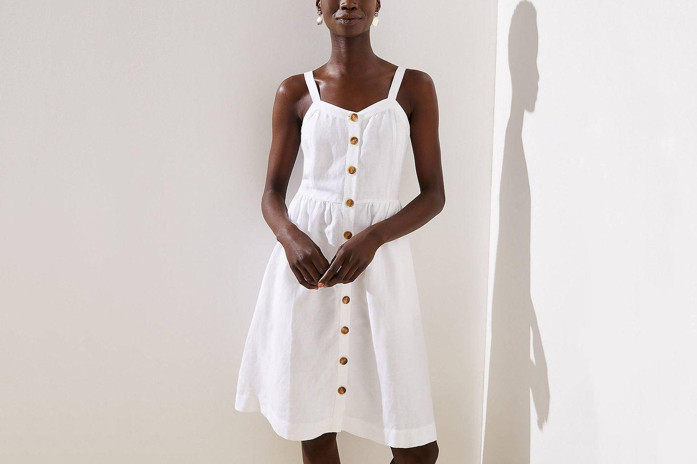 Loft Button Down Flare Dress in White