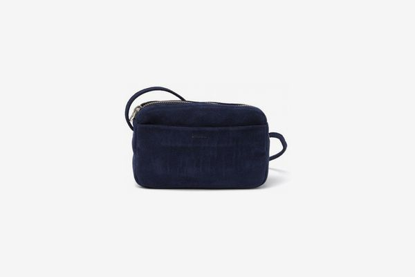 Baggu Mini Leather Purse in Midnight Suede