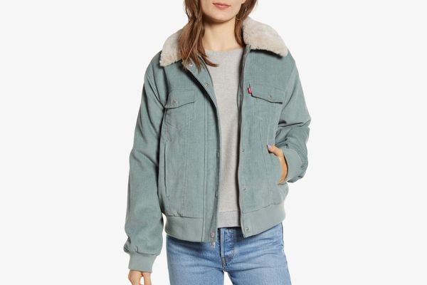 Levi's Faux Fur Collar Corduroy Bomber Jacket