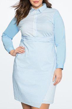 Eloquii Mix Print Wrap Front Shirt Dress