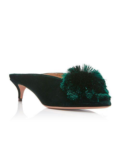 Aquazzura Pom Pom-Embellished Velvet Mules