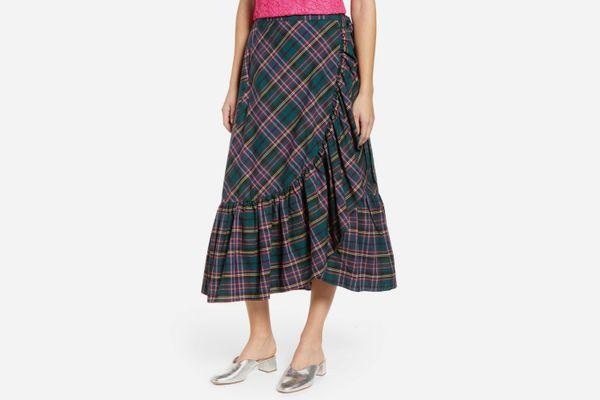 J. Crew Plaid Ruffle Wrap Skirt