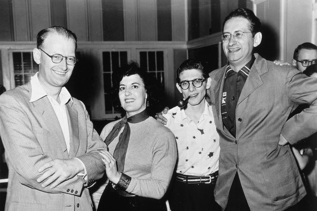 Arthur C Clarke and friends, United States, c 1940s. This group portrait was probably taken at the Science Fiction Writers Convention in Wisconsin. Clarke (right) is standing with (left to right) Robert Bloch, Evelyn Gold and Harlan Ellison. Arthur Charles Clarke (b 1917) was later to become a leading science fiction writer, following a period of work in scientific research.