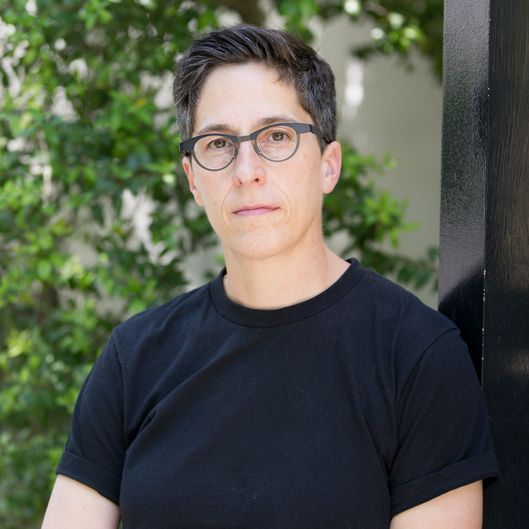 "CHARLESTON, SC-APRIL, 21: Alison Bechdel at a rehearsal as cast members of the musical of her memoir, ""Fun Home"", prepare for a performance of selected songs to be delivered in support of protesters at the College of Charleston after  proposed state budget cuts were approved in response to ""Fun Home"" being offerred as summer reading at the College of Charleston, at the Meminger Auditorium on Monday, April 21, 2014 in Charleston, SC. (Photo by Alice Keeney/For The Washington Post)"