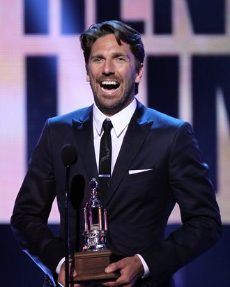 Henrik Lundqvist of the New York Rangers speaks onstage after winning the Vezina Trophy during the 2012 NHL Awards at the Encore Theater at the Wynn Las Vegas on June 20, 2012 in Las Vegas, Nevada.