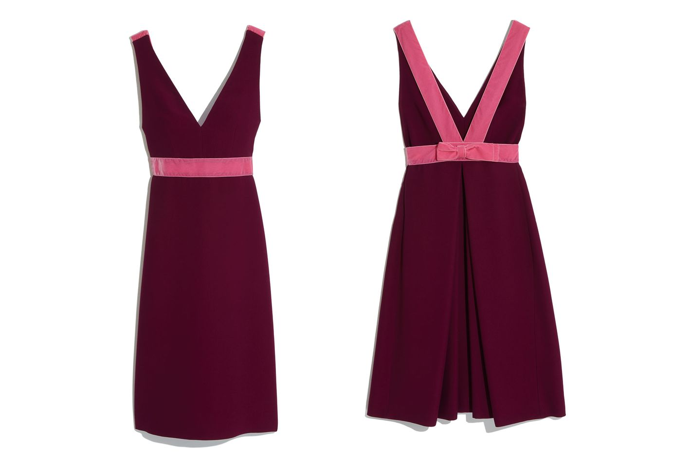 Prada Velvet Bow-Back V-Neck Dress