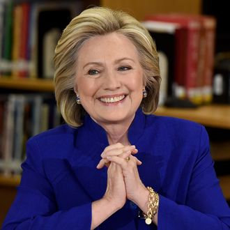 LAS VEGAS, NV - MAY 05: Democratic presidential candidate and former U.S. Secretary of State Hillary Clinton smiles as she speaks at Rancho High School on May 5, 2015 in Las Vegas, Nevada. Clinton said that any immigration reform would need to include a path to