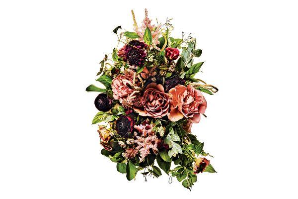Caffe Latte garden rose, ranunculus, scabiosa, jasmine, amaranthus, astilbe, astrantia, and passionflower vine