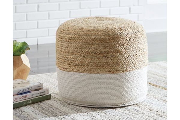 Ashley Furniture Signature Design - Sweed Valley Pouf - Natural/White