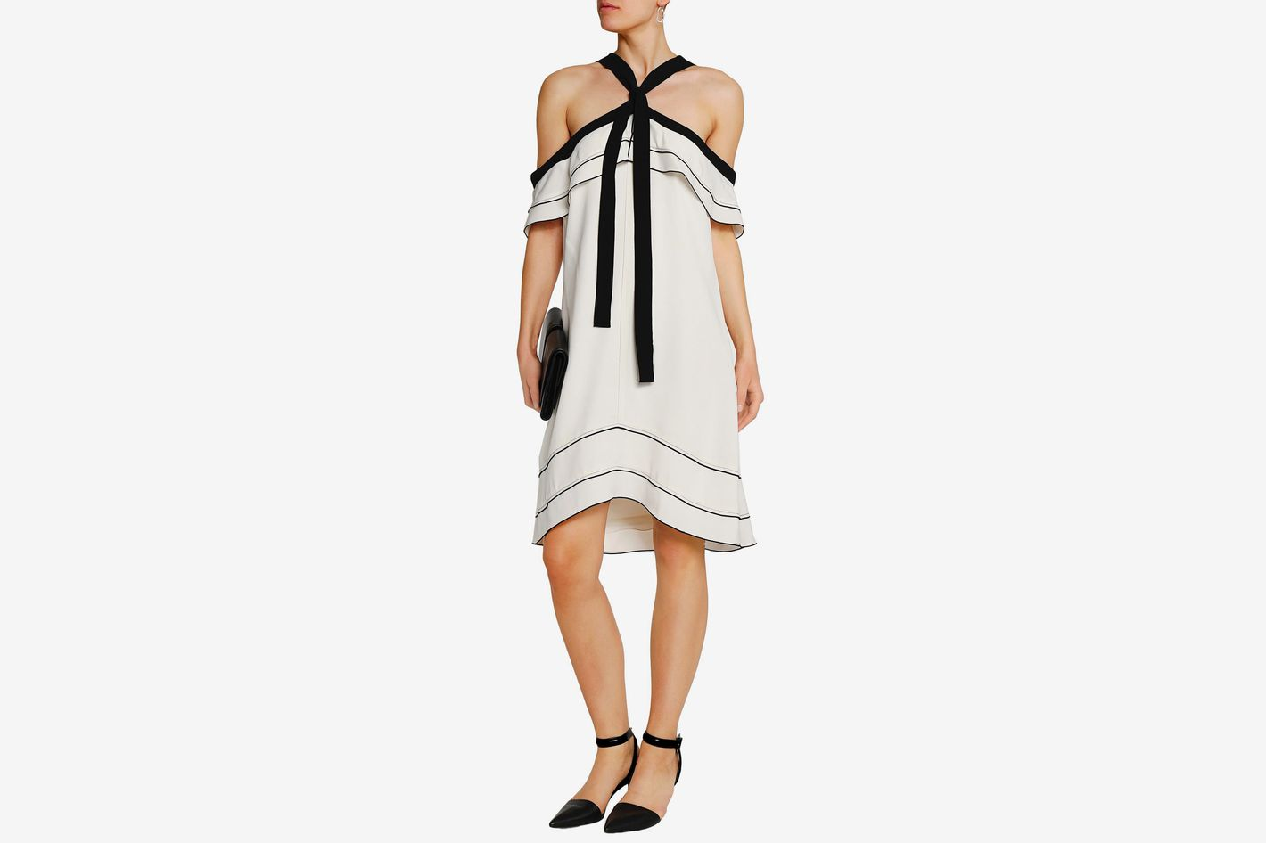 Proenza Schouler cold-shoulder satin crepe dress