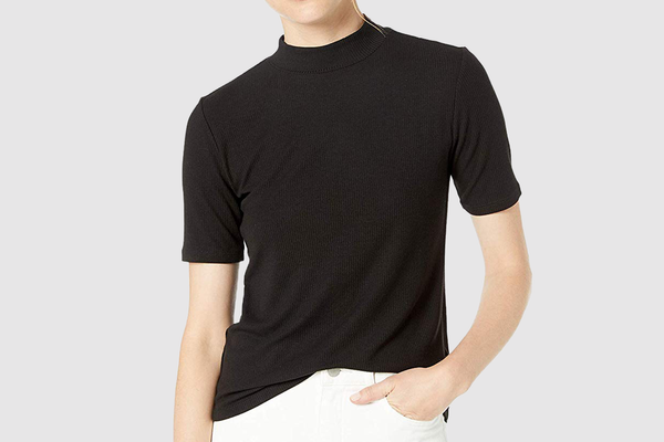 The Drop Joanna Short Sleeve Mock Neck Ribbed T-Shirt