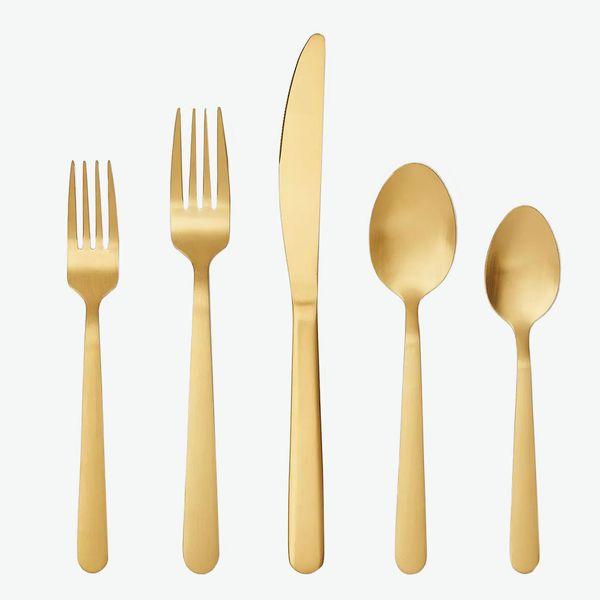 Threshold 20-Piece Stainless-Steel Silverware Set, Gold
