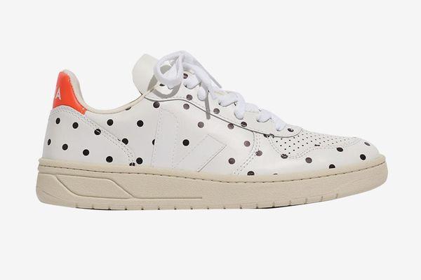 Madewell x Veja Leather V-10 Sneakers in Polka Dot