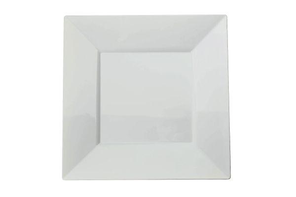 Exquisite 60-Pack Premium Disposable Plastic Plates, Heavyweight Square Plastic Plates