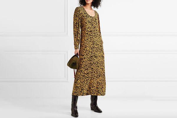 GANNI Floral Printed Midi Dress