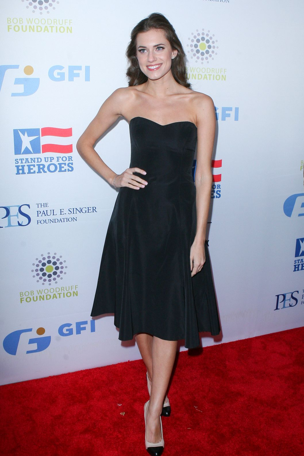 "Actress Allison Williams attend the New York Comedy Festival and Bob Woodruff Foundation's 6th Annual ""Stand Up For Heroes"" at the Beacon Theatre in New York City."