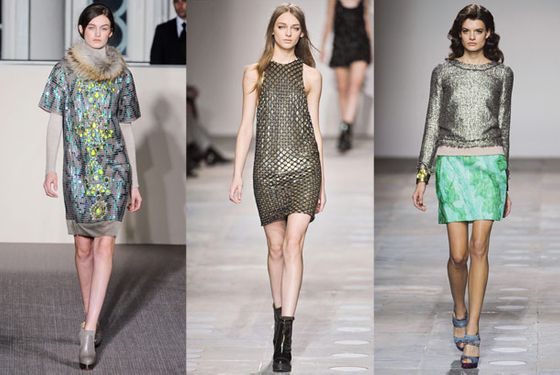 """We started seeing heavy beading in New York, and that continued this week. Everyone had some interpretation of shine, from Matthew Williamson to Michael van der Ham. There are elements of it running throughout the embroidery and embellishment.""  <b>Must-have</b>: Mosaic sequin dress by Matthew Williamson (left)"