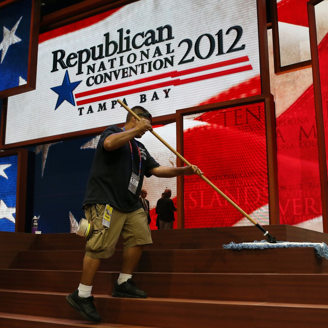 TAMPA, FL - AUGUST 26:  A worker sweeps the steps of the stage ahead of the Republican National Convention at the Tampa Bay Times Forum on August 26, 2012 in Tampa, Florida. The RNC is scheduled to convene on August 27 and will hold its first full-day session on August 28 as Tropical Storm Isaac threatens disruptions due to its proximity to the Florida peninsula.  (Photo by Spencer Platt/Getty Images)