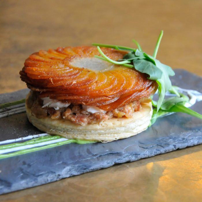 Alder's tart with potato, bacon, and goat cheese.