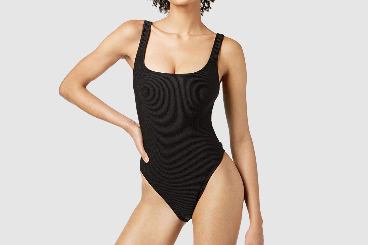 Reebok Ribbed One-Piece High-Leg Swimsuit