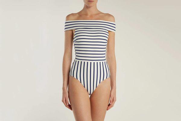 Solid & StripedThe Vera Off-the-Shoulder Striped Swimsuit
