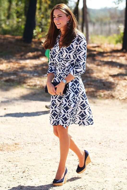 WINMALEE, AUSTRALIA - APRIL 17:  Catherine, Duchess of Cambridge arrives at the Winmalee Guide Hall on April 17, 2014 in Winmalee, Australia. The Duke and Duchess of Cambridge are on a three-week tour of Australia and New Zealand, the first official trip overseas with their son, Prince George of Cambridge.  (Photo by Brendon Thorne/Getty Images)