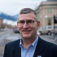 14 Feb 2014, Livingston, Montana, USA --- Montana Senator John Walsh on Main Street in Livingston, Montana while visiting with constituents the week that he was sworn in to replace Senator Max Baucus. --- Image by ? William Campbell/Corbis