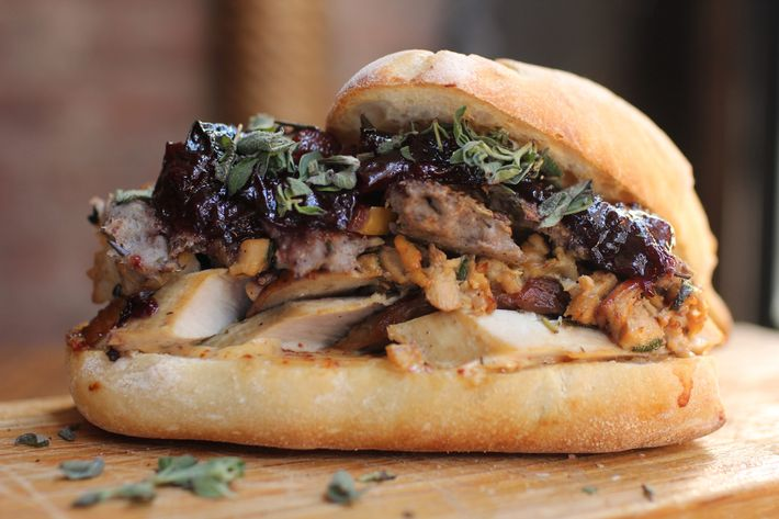 Black Tree's version features smoked turkey, rilettes, stuffing, and cranberry sauce.