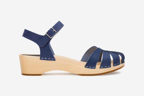 Swedish Hasbeens Cross Strap Debutant Sandals, Blue Nubuck