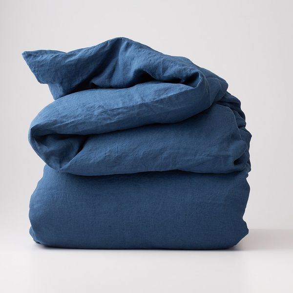 Schoolhouse Electric Blue Linen Duvet Cover, Full/Queen