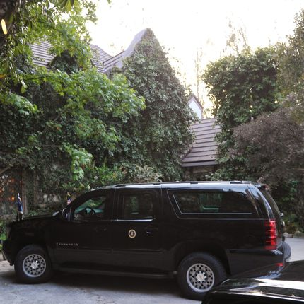 Outside Clooney's house.