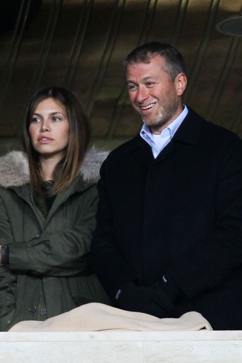 Chelsea owner Roman Abramovich looks on with his girlfriend Daria Zhukova prior to the UEFA Champions League Group F match between FC Spartak Moscow and Chelsea  at the Luzhniki Stadium on October 19, 2010 in Moscow, Russia.